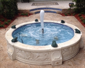 Water Feature Design with Hardscaping in Palmetto Bay